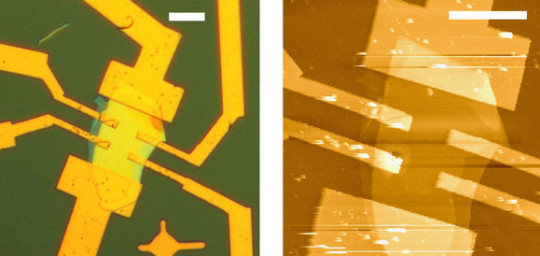 Left: Optical image of an encapsulated black phosphorus FET (field effect transistor). scale bar, 10 μm. (Right) Atomic force microscope image of the same